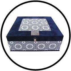 Teebox Bastelset 9-Fachs Blau Ornament